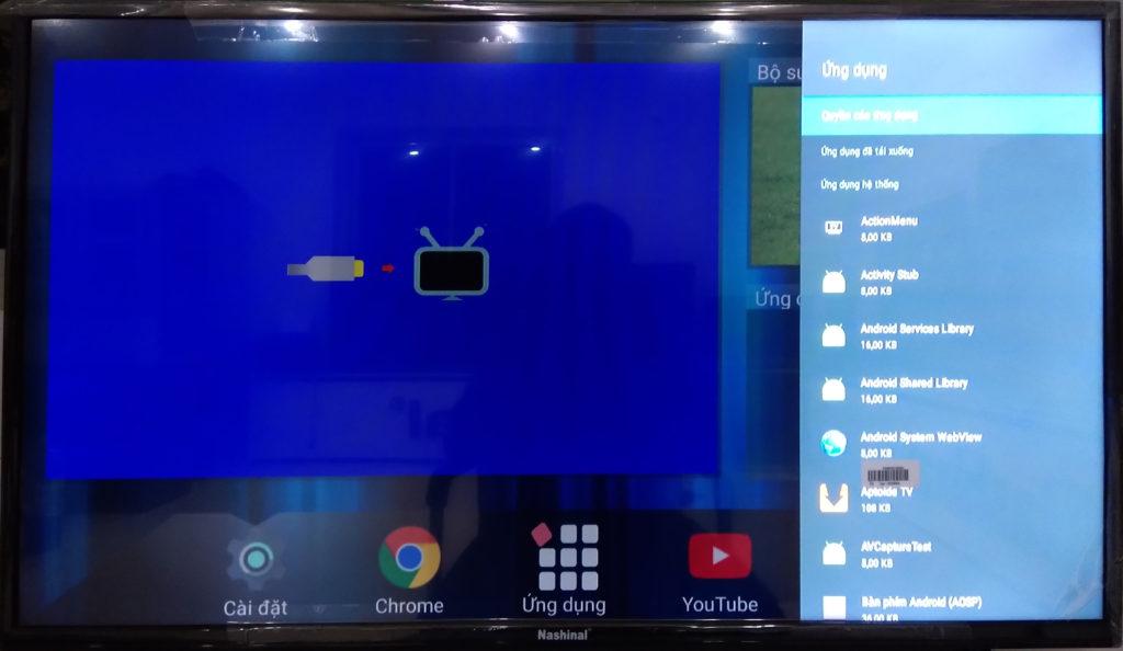 Màn hình cài đặt ứng dụng của smart TV
