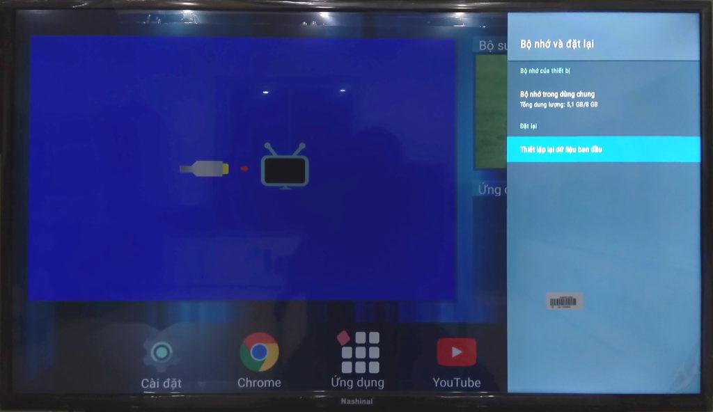 Màn hình cài đặt bộ nhớ của smart TV