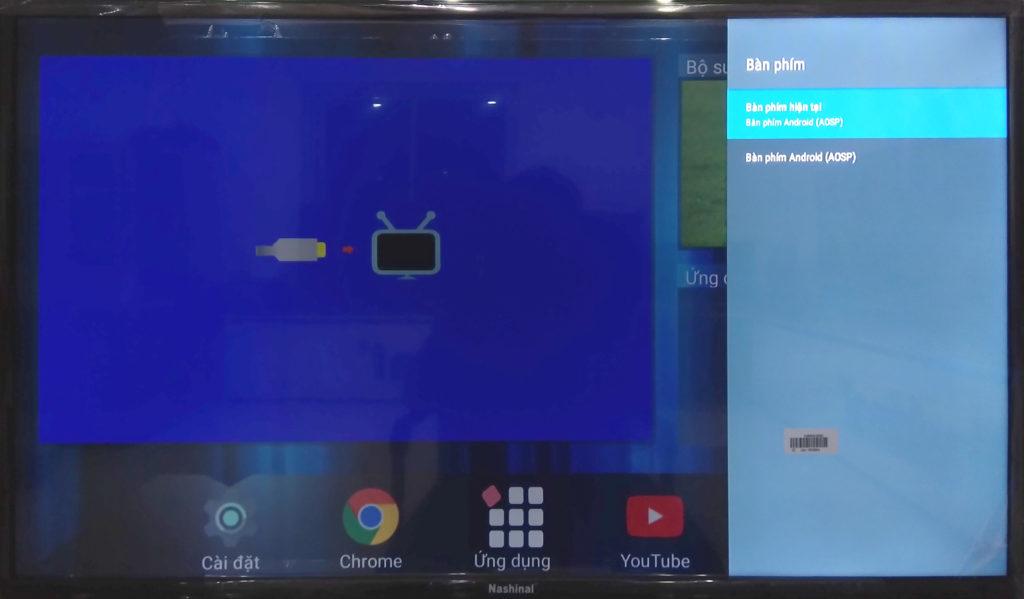Màn hình cài đặt bàn phím của smart TV
