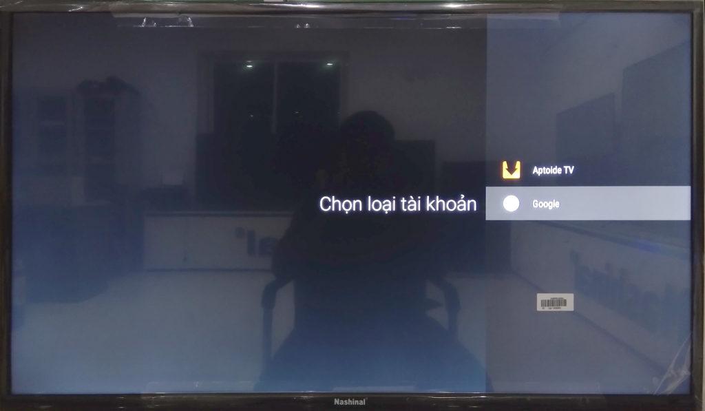 Màn hình cài đặt tài khoản của smart TV