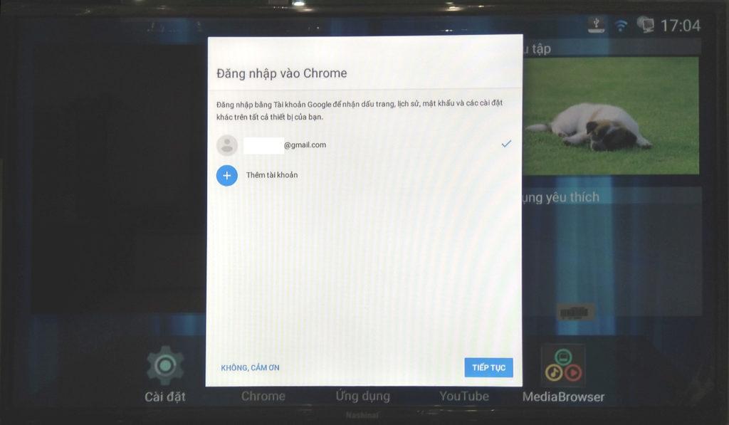 Màn hình cài đặt trình duyệt web của smart TV