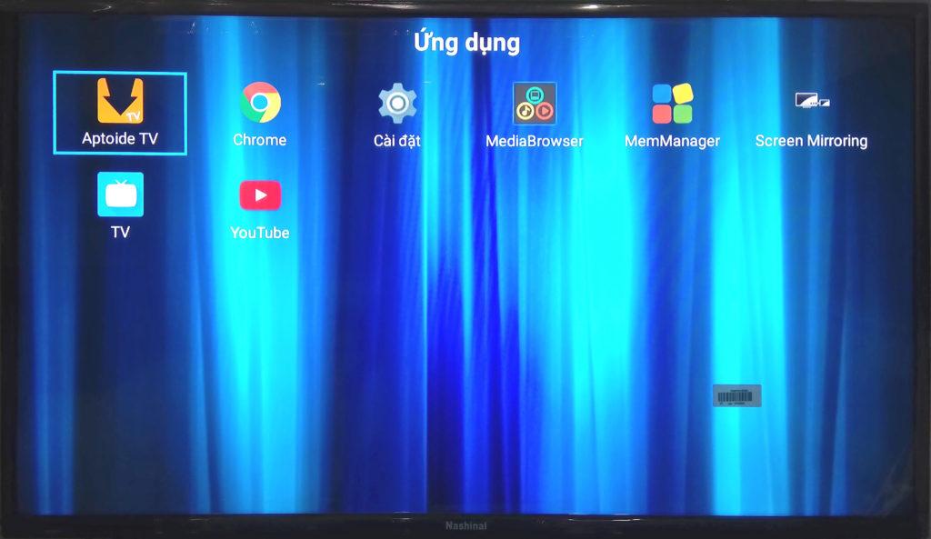 Màn hình quản lý ứng dụng của smart TV