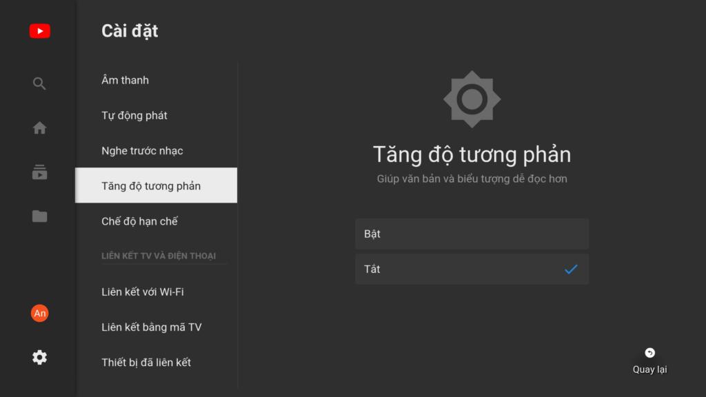 Màn hình cài đặt Youtube trên Smart TV