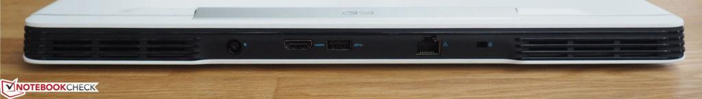 Phía sau: Bộ chuyển đổi AC, HDMI, USB Type-A, RJ45-LAN, Khóa