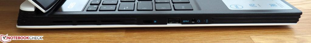 Bên trái: USB Type-C (có DisplayPort), USB Type-A, giắc cắm 3,5 mm