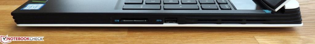 Phải: đầu đọc thẻ, USB Type-A
