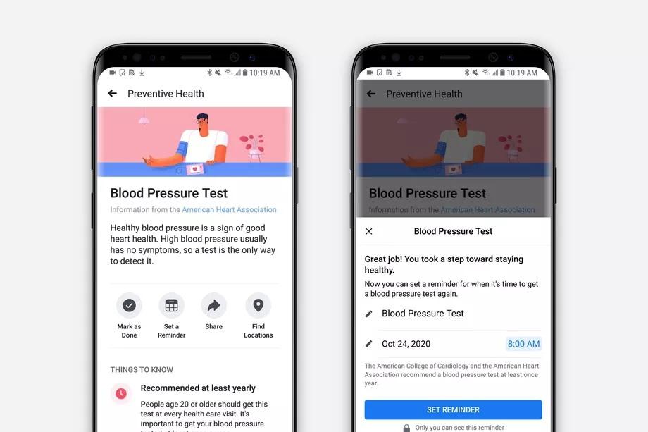 Tính năng hỗ trợ sức khỏe mới của Facebook
