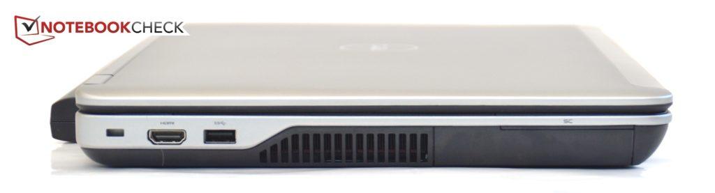 Phía bên trái Dell Latitude E6540 : Kensington, HDMI, USB 3.0