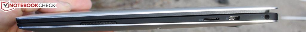 Cạnh phải: đầu đọc microSD, USB Type-C Gen.2, giắc cắm âm thanh nổi 3,5 mm