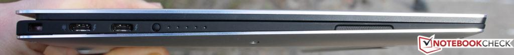 Phía bên trái: Khóa bảo vệ, 2x USB Type-C + Thunderbolt 3 (chia sẻ một kết nối PCIe-x4)