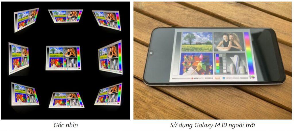 góc nhìn màn hình Samsung Galaxy M30s