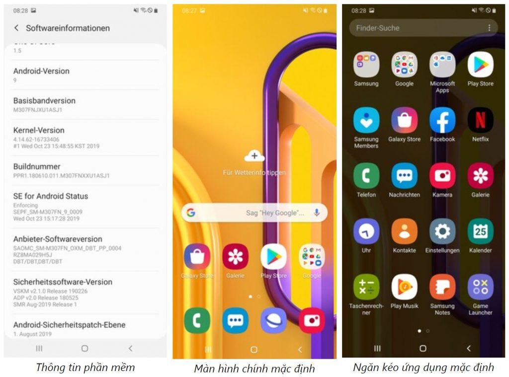 Giao diện phần mềm Samsung Galaxy M30s