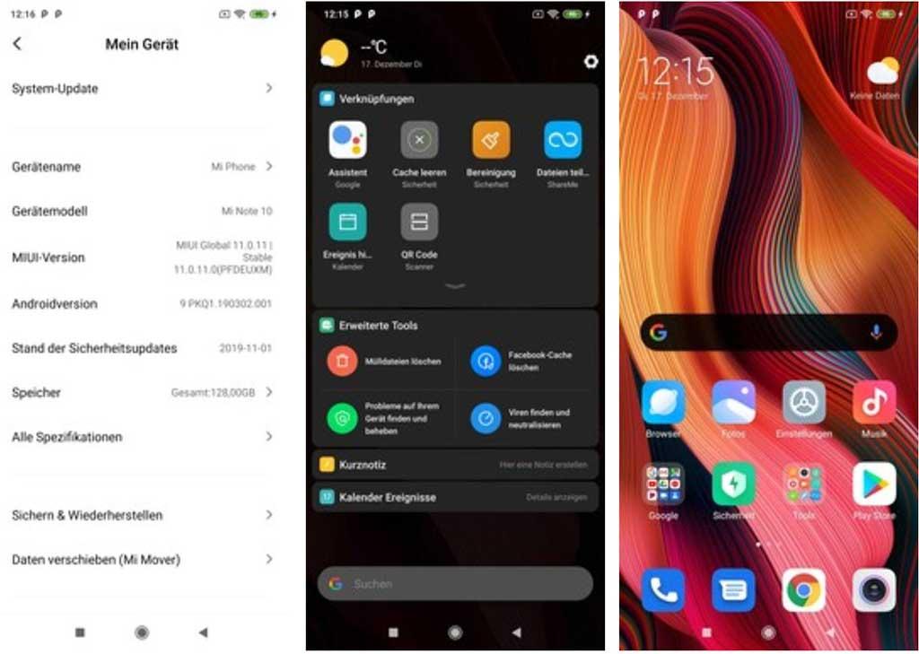 Phần mềm Xiaomi Mi Note 10