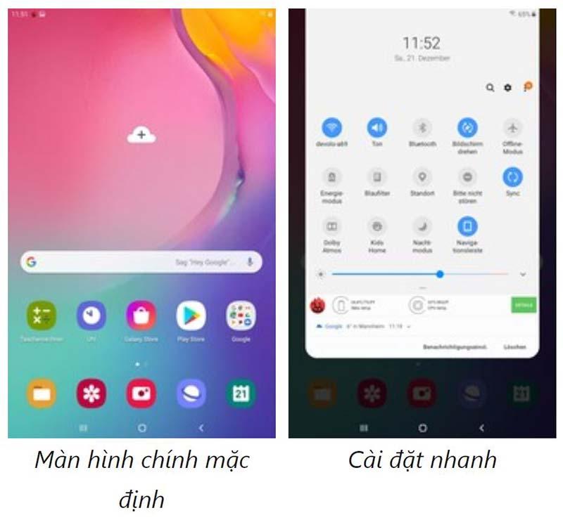 Giao diện Samsung Galaxy Tab A8.0 (2019)