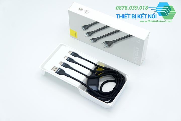 Cáp sạc nhanh Baseus Data Cable 3 in 1 5A/40W Quick Charging tích hợp ba đầu sạc