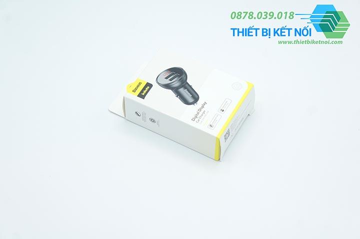 Tẩu sạc đa năng dùng cho xe ô tô Baseus hiển thị điện áp 24W 4.8A